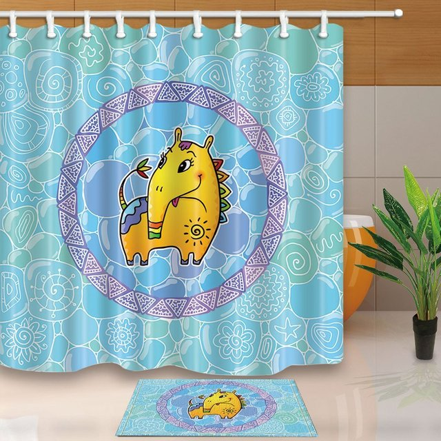 Little Yellow Fantastic Horse With Long Nose In Turquoise Kids Waterproof Polyester Fabric Shower Curtain Set Doormat Bath Rugs