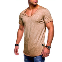 2019 New summer Best Sellers Arrived Deep V neck slim t shirt men fashion casual  tshirt Fitness Exercise t-shirt