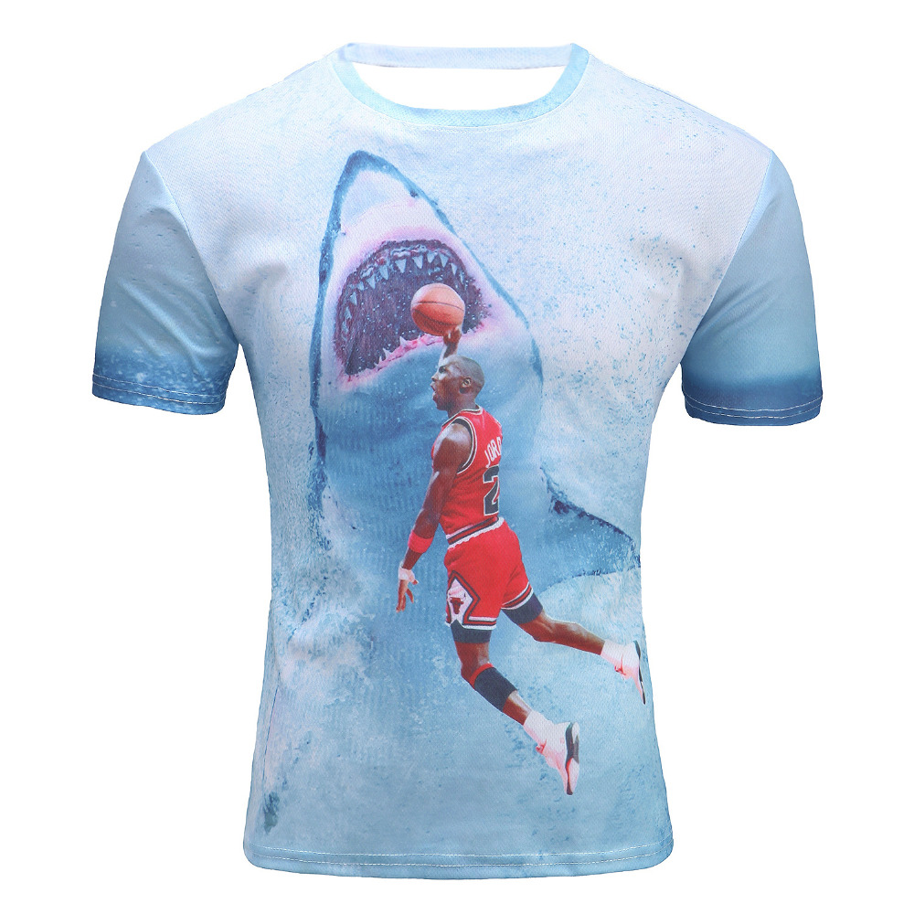 New fashion men 39 s t shirt 3d print star jordan dunk shark for Drop ship t shirt printing
