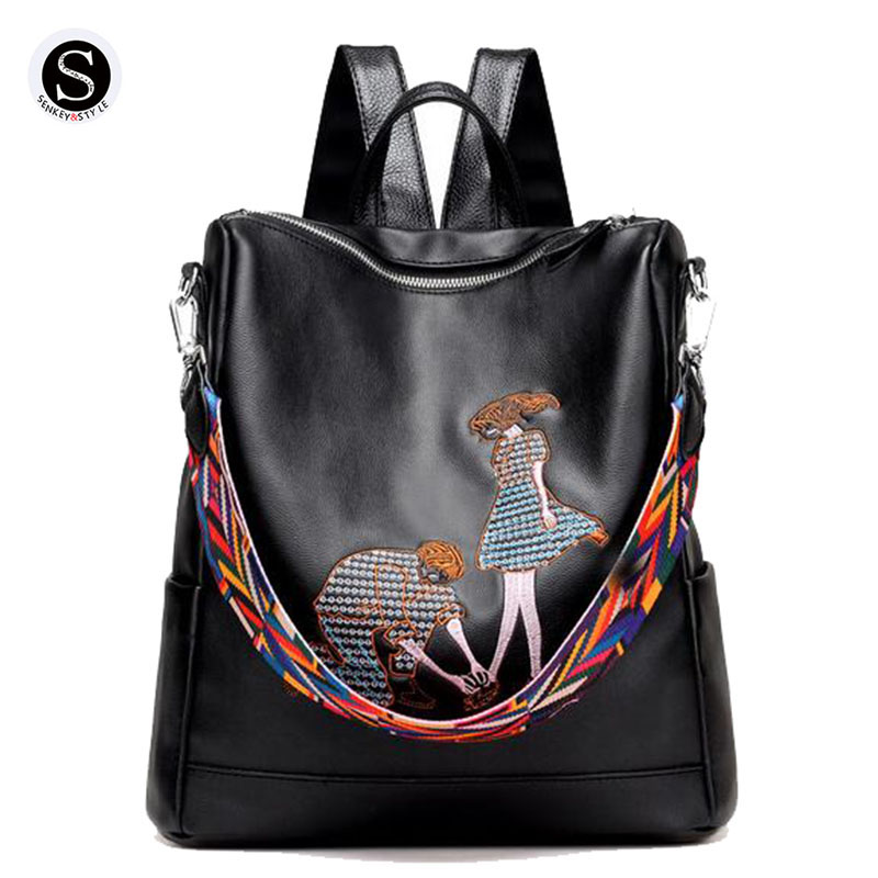 Senkey Style 2017 Women Backpack Cartoon Embroidery Large Capacity Leather School Bags For Teenagers Famous Brands