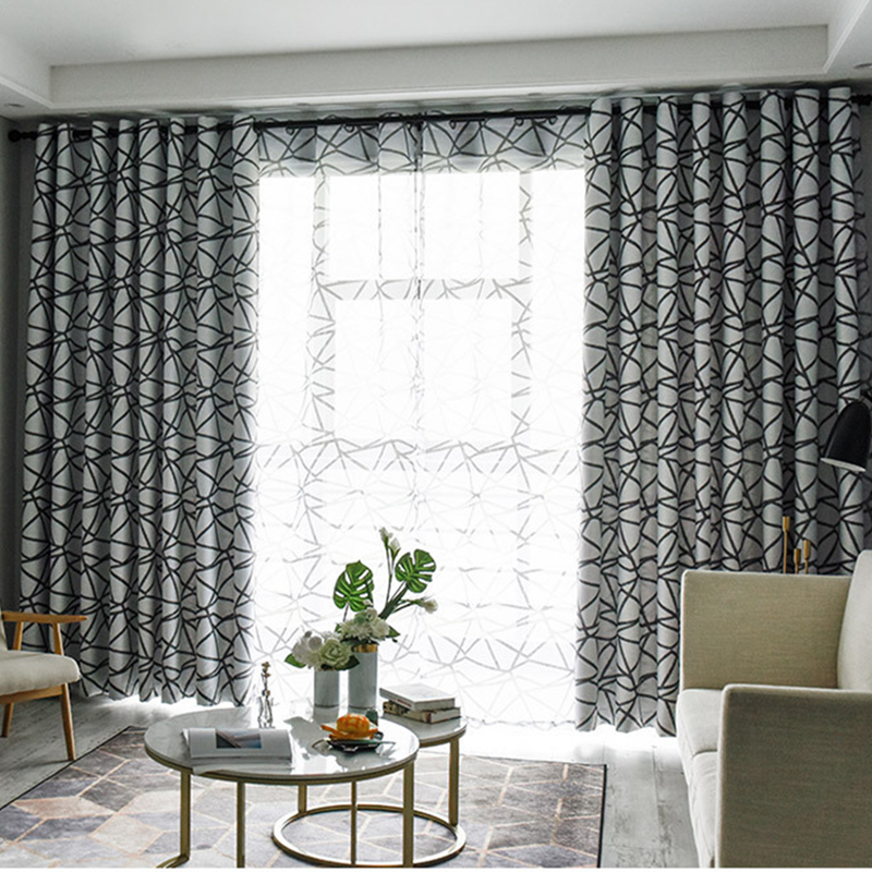 Minimalist Irregular Stripes Blackout Curtains for Bedroom Living Room Thermal Insulated Thick Black Curtain Fabric for Kitchen window valance