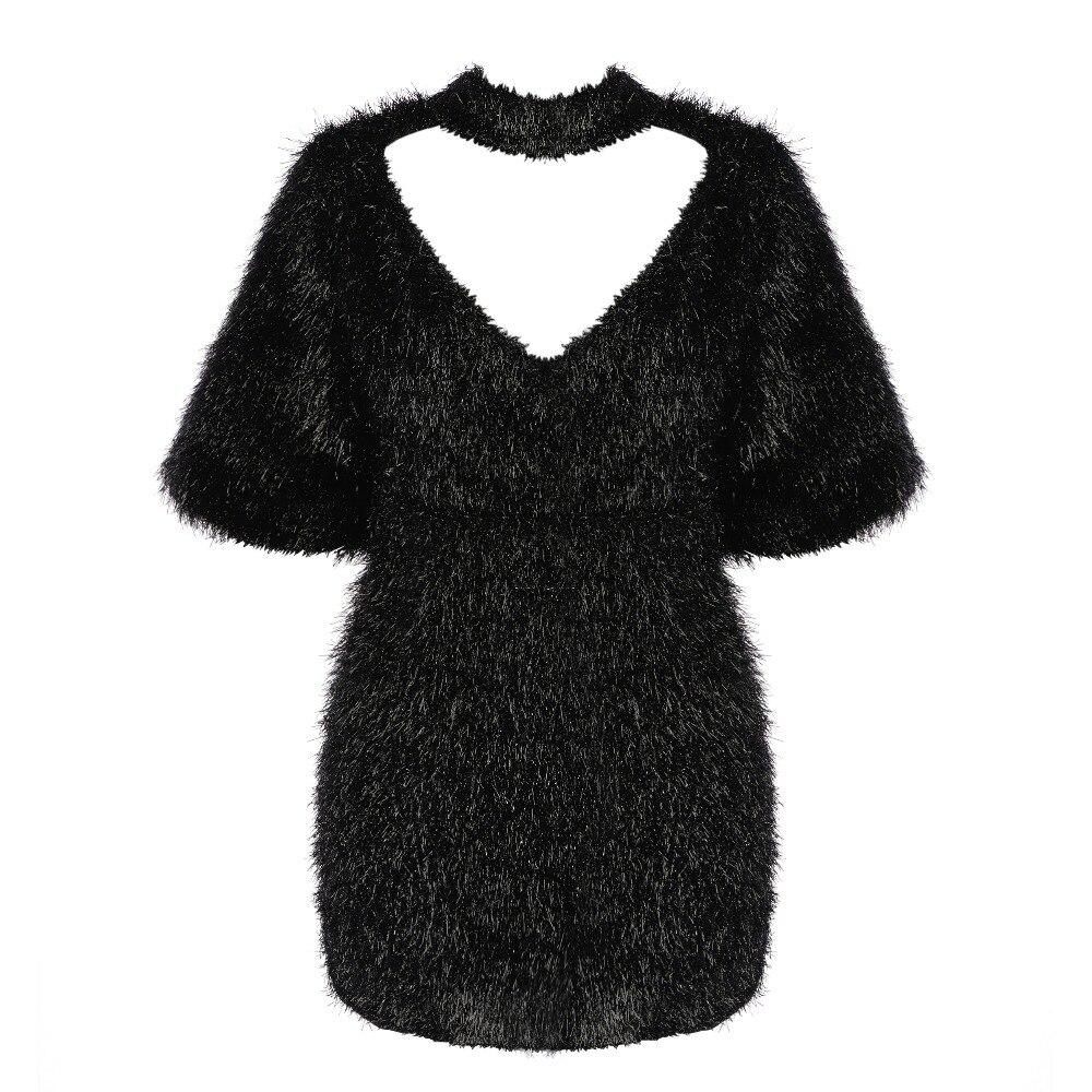 Manches L'arrière Partie Du Sexy Creusé Embelli Nouvelle En Mode Mini Peluche Célébrité Chic Sur 2019 Robe Oloey Milieu Noir fw7Svq