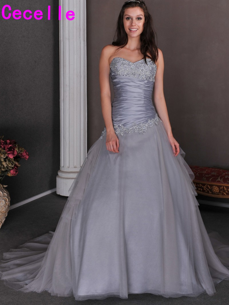 2017 Silver Grey Ball Gown Princess Colorful Wedding