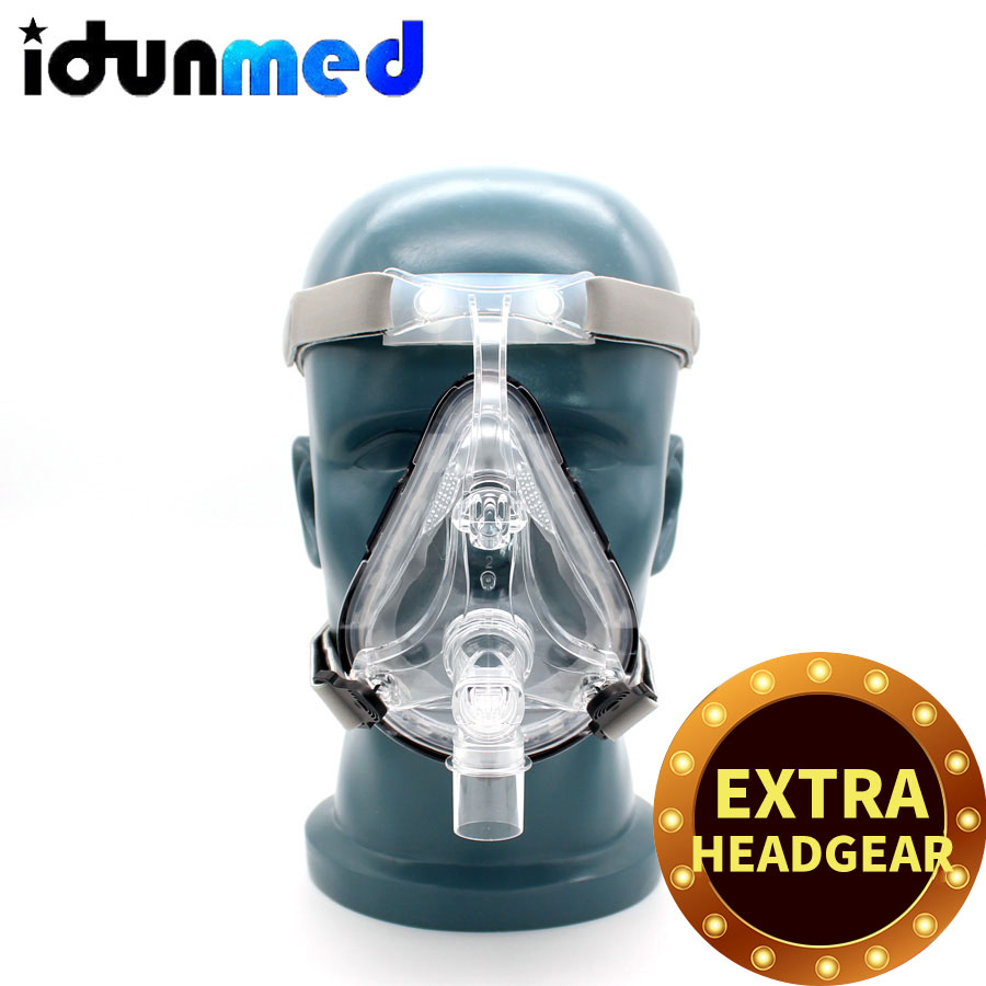 BMC CPAP Full Face Mask For CPAP Machine APAP BPAP With Adjustable Chin Headgear Strap For