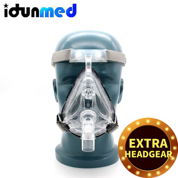 BMC CPAP czapka kominiarka do maszyna CPAP APAP BPAP z regulowanym paskiem na podbródek do spania bezdech przeciw chrapaniu rozwiązanie tanie i dobre opinie CPAP Full Face Mask CE ISO13485 FDA Clear Medical Silicone And Polycarbonate Grey Coolmax S M L 1x Headgear 2x Clips 1x Adapter