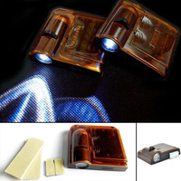2x Night Cold Blue Black Wireless Car Door LED Light Courtesy Welcome Logo Shadow Ghost Light