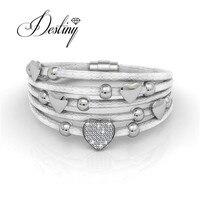 Destino de la Joyería Adornado con cristales de Swarovski pulsera de Cuero Pulsera de Amor DB0076
