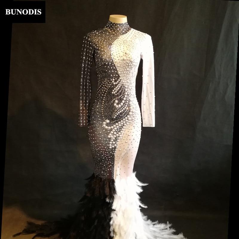 Show Danseur Et Stage Chanteur Nightclub Sexy Blanc Perles Jupe Longue Plume Femmes Time Bu328 Noir Mousseux Cristaux Porter 6t7qaFx