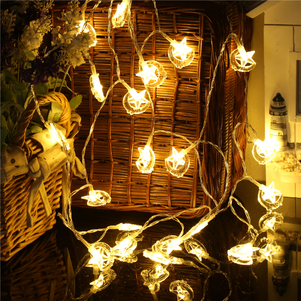 Fairy LightsStar Moon String Light 1.5M,10L/20L/40L,3AA Room Weding Party Wall Window Home Decoration Children Night Lamp