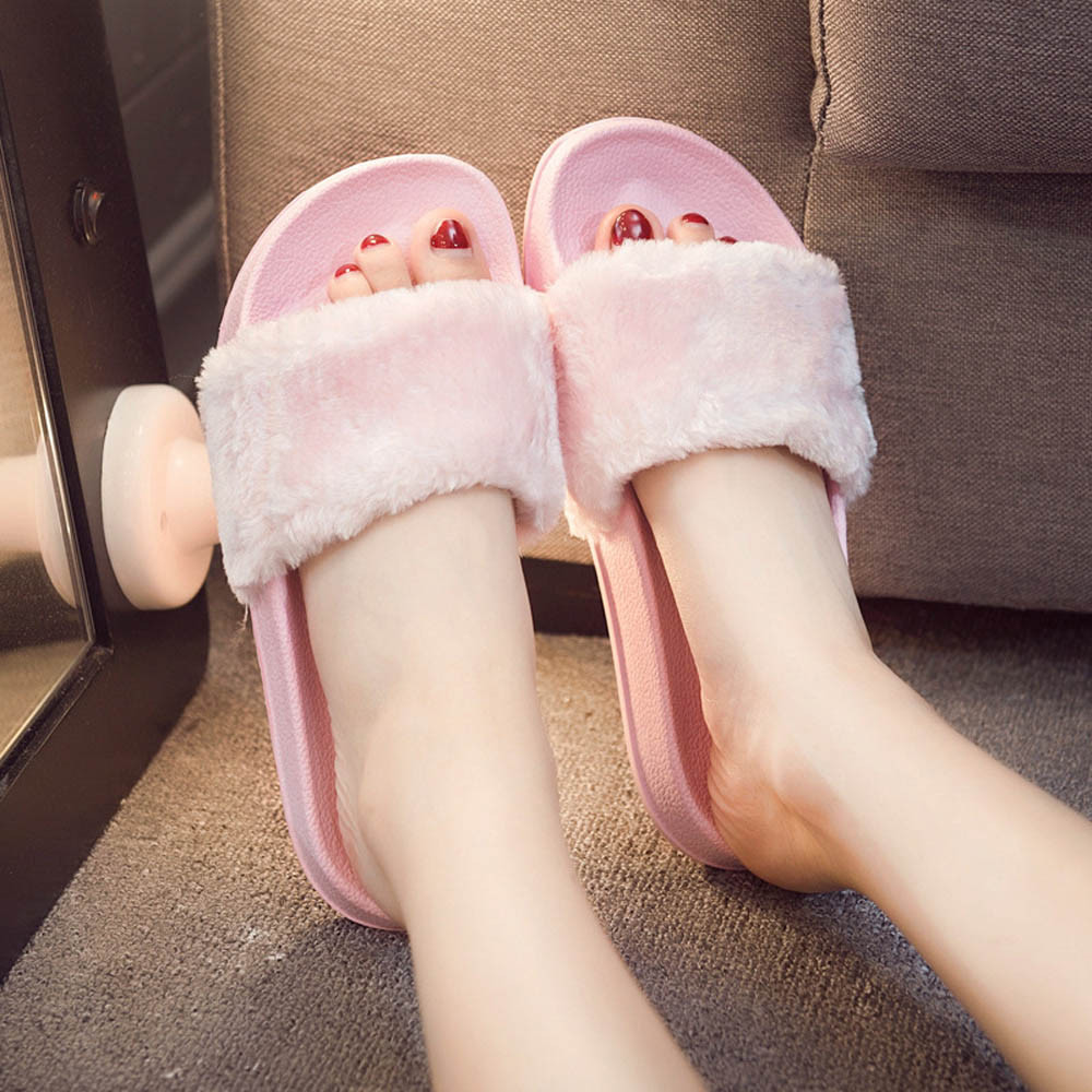 2018 New Casual Slipper Flip Flop Sandal Womens Slippers Zapatos Mujer Ladies Slip On Sliders Fluffy Faux Fur Flat Size4.3-6.8612018 New Casual Slipper Flip Flop Sandal Womens Slippers Zapatos Mujer Ladies Slip On Sliders Fluffy Faux Fur Flat Size4.3-6.861