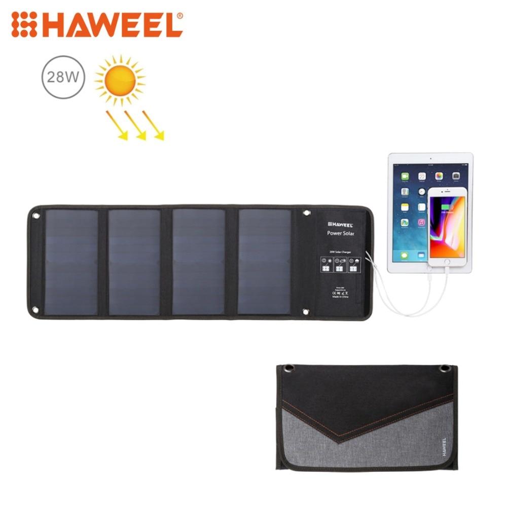 HAWEEL 4 panneau solaire 28 W chargeur solaire pliable extérieur secours Portable alimentation de secours 5 V/2.9A Max 2 Ports USB pour téléphone