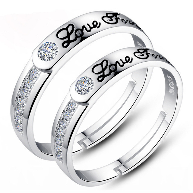 Lover Ring Silver Color Fashion Round Circle Simple Womens Costume Jewelry And Wedding Rings Opened Adjule