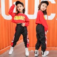 Children's Hip hop Costume Street Dance Suit Long Sleeve Jazz Modern Dance Clothes Red Performance Set Casual Style Dance Wear