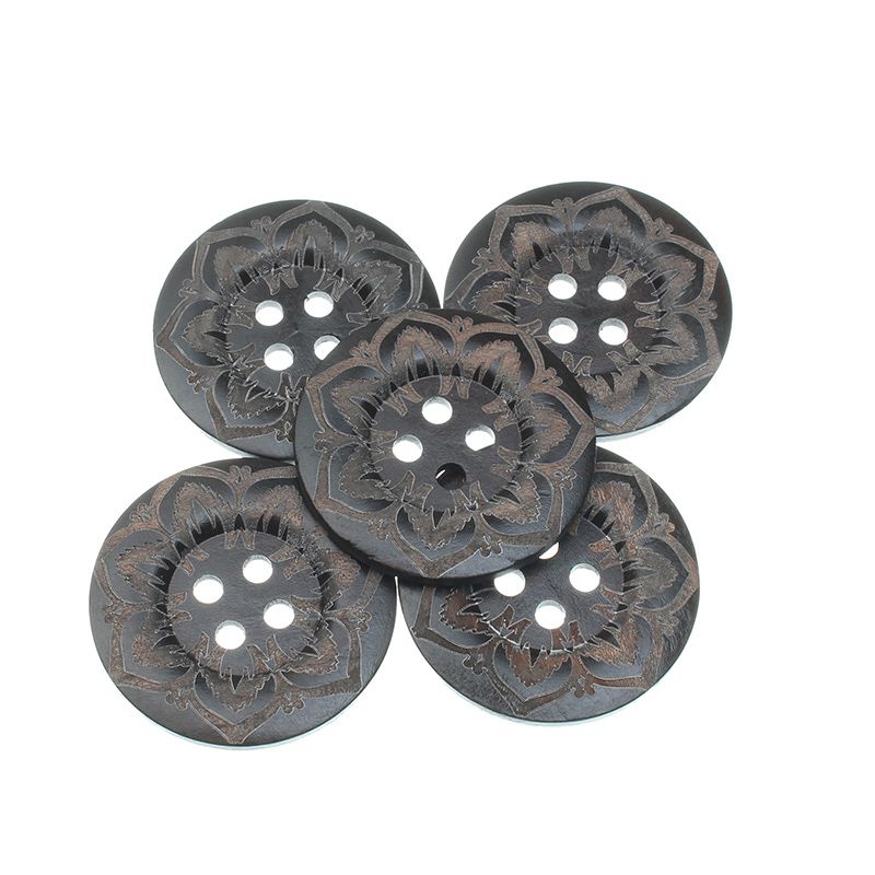 10Pcs <font><b>50mm</b></font> Brown Round Flowers Wooden Sewing <font><b>Buttons</b></font> For Clothes Needlework Scrapbooking Crafts Decorative Diy Accessories image