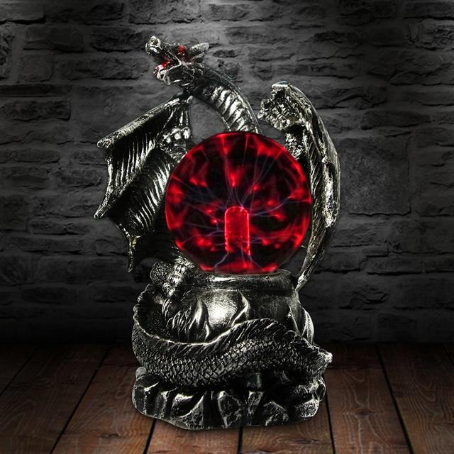 Gothic Medieval Dragon Guardian Electric Plasma Ball Desk Lamp Halloween Horror Lighting Magical Light Statue Figurine