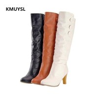 KMUYLS Genuine Leather Boots Women High Heel For Autumn And Winter Knee High Boots Ladies Shoes