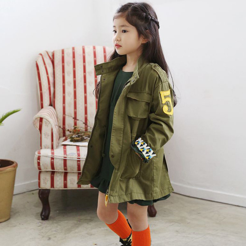 Korean Army Green Long Jacket For Girls Children Clothing Embroidery Spring Autumn Girls Trench Coat Kids Outwear TZ159 teenager girl dot trench coat outwear kids hooded clothes spring and autumn jacket children s clothing 15380421