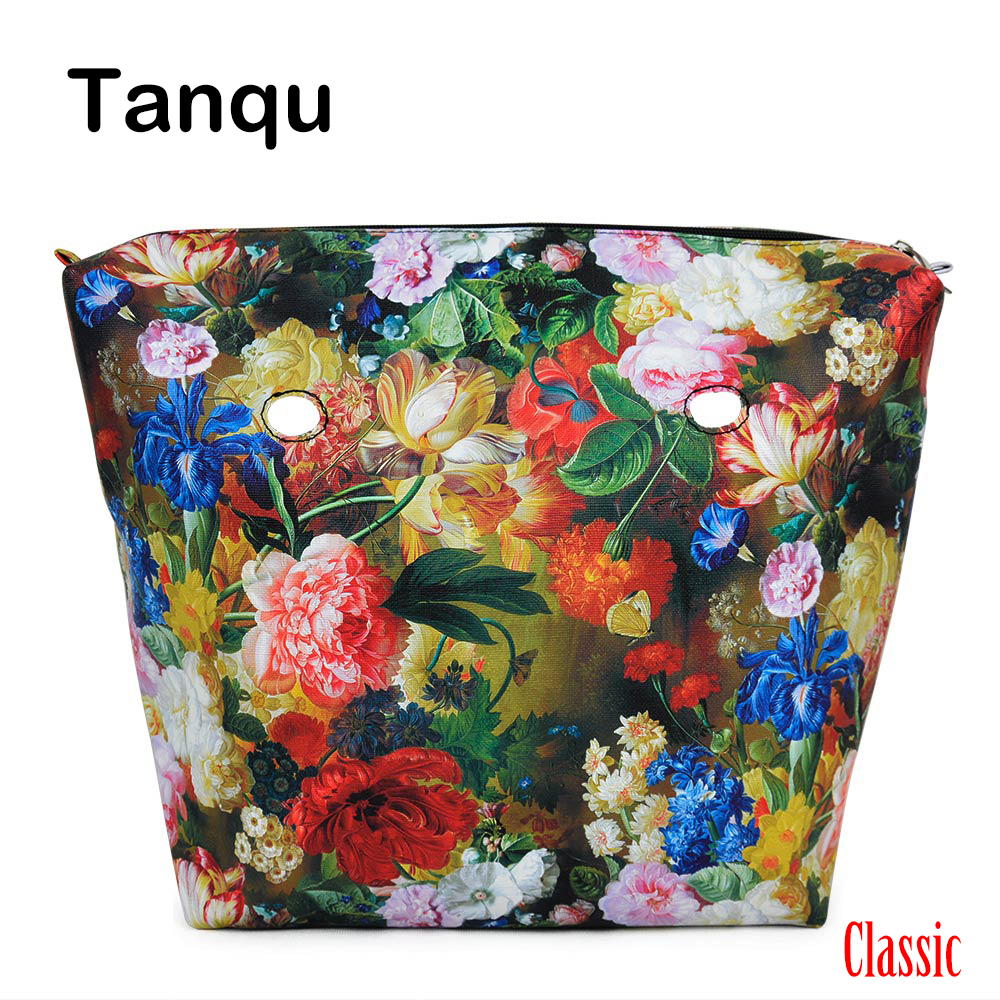 TANQU New Classic Floral Print PU Leather Lining Waterproof Insert Zipper Inner Pocket for Classic Big Obag O BAG Women Handbag tanqu new mini floral print pu leather lining waterproof insert zipper inner pocket for mini obag eva o bag women handbag