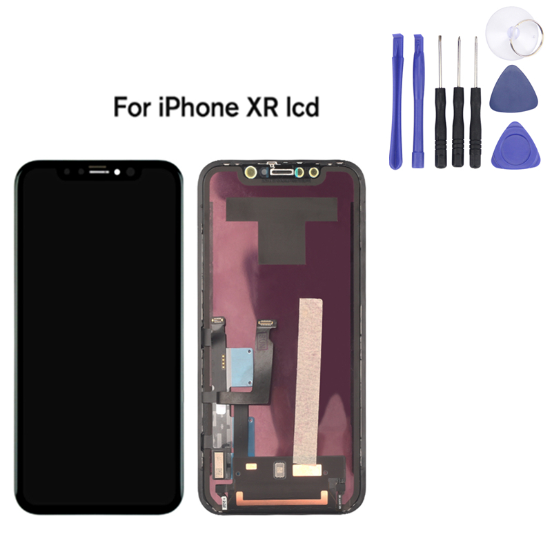 Pour iPhone XR écran lcd AMOLED OEM écran tactile Avec remplacement du numériseur pièces d'assemblage Noir + Assembler Outils