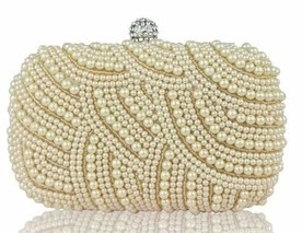 368b30bdb72 100% Hand made Luxury Pearl Clutch bags Women Purse Diamond Chain white  Evening Bags for