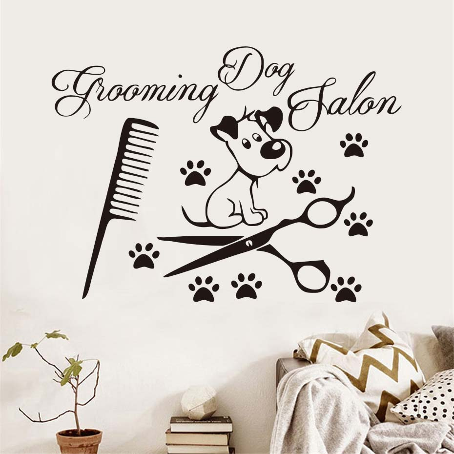 Dog Paw Scissors Comb Vinyl Wall Sticker For Dogs Grooming Salon Pet Shop Removable Waterproof Wall Art Decals Home Decor