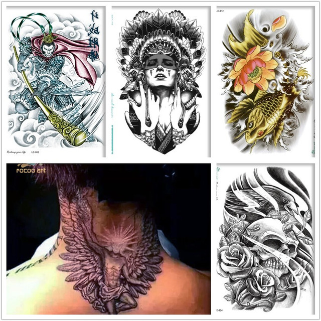 Rocooart 5 sheets Temporary Tattoos Set,Big Arm Wings,Fishs Waterproof Body Temporary Fake Large Tatoo Sticker Taty For Men