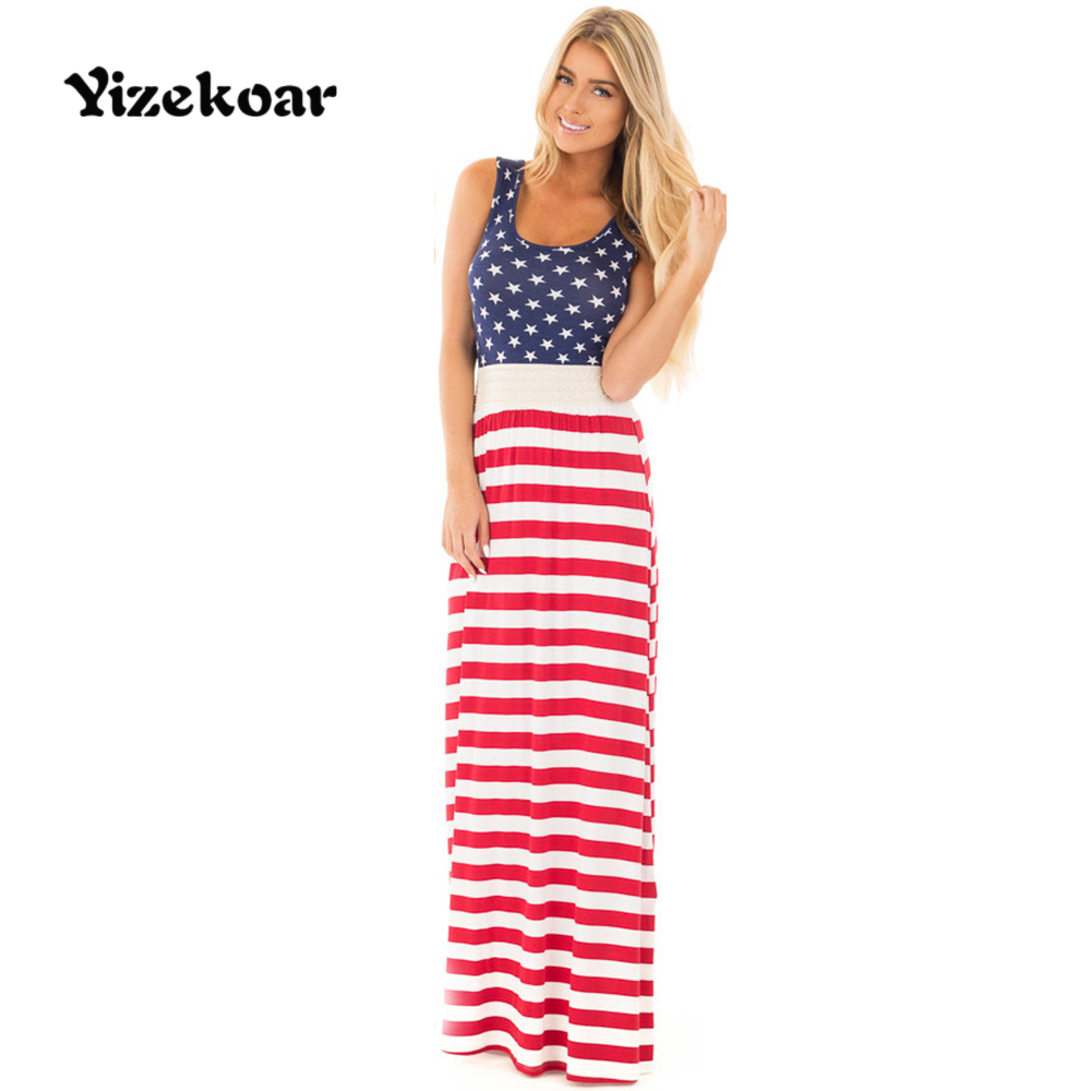 Yizekoar Women Summer Beach Maxi Striped Splice Dress High Quality Elastic Waist American Flag Print Long Dresses Feminine