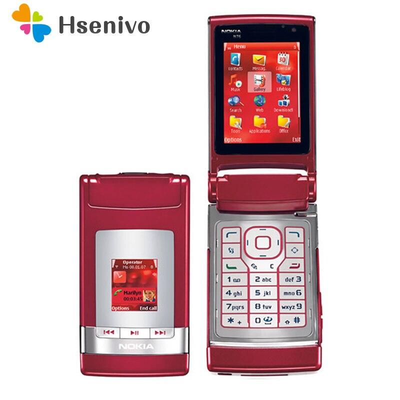 N76 Original Nokia N76 Bluetooth JAVA 2MP Unlocked Flip Mobile Phone Support Russian Keyboard Refurbished Free Shipping