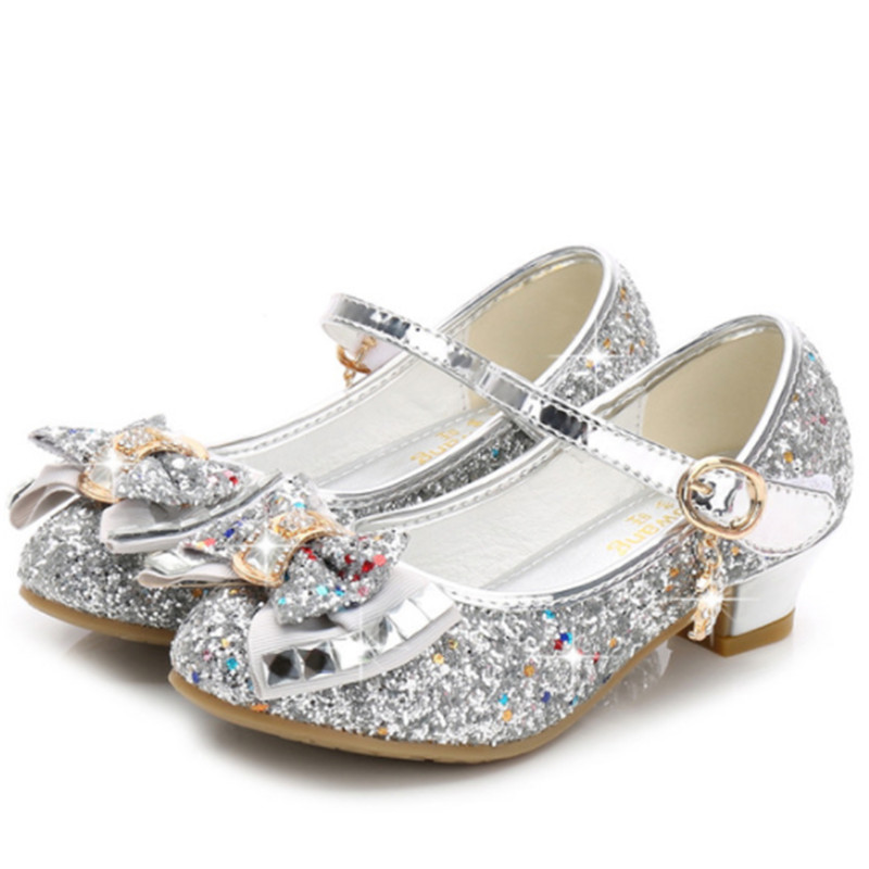 Fashion Girls Shoes Princess Party Wedding Kids Girls Shoes With High Heels Good Quality Bling Children Shoe Girls Size 26-38