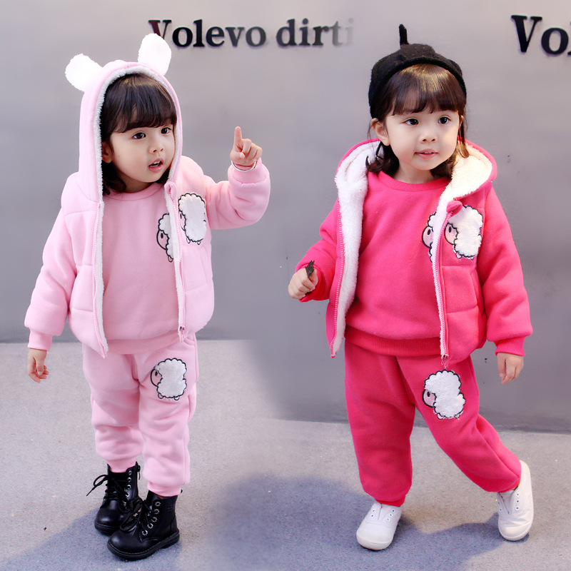 Winter Kids Clothes Toddler Girl Clothing Cartoon Baby Girls Clothing Sets 3PCS Kids Clothing Suits 1 2 3 4 5Years Costume