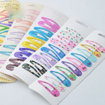 цена на 10 Pieces High Quality Printing Snap Hair Clips for Kids Solid Metal Hairpins Girls Hair Accessories Clips Barrettes Hair Pins