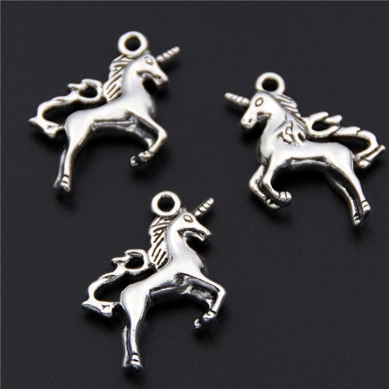 10pcs Zinc Alloy Antique Silver Unicorn Charms Fancy Animal  Kawaii Diy Pendants Jewelry Making Necklace A2460