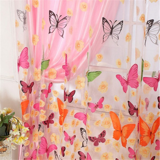 Aliexpress.com : Buy Washable Sheer Voile Curtain Butterfly Print ...