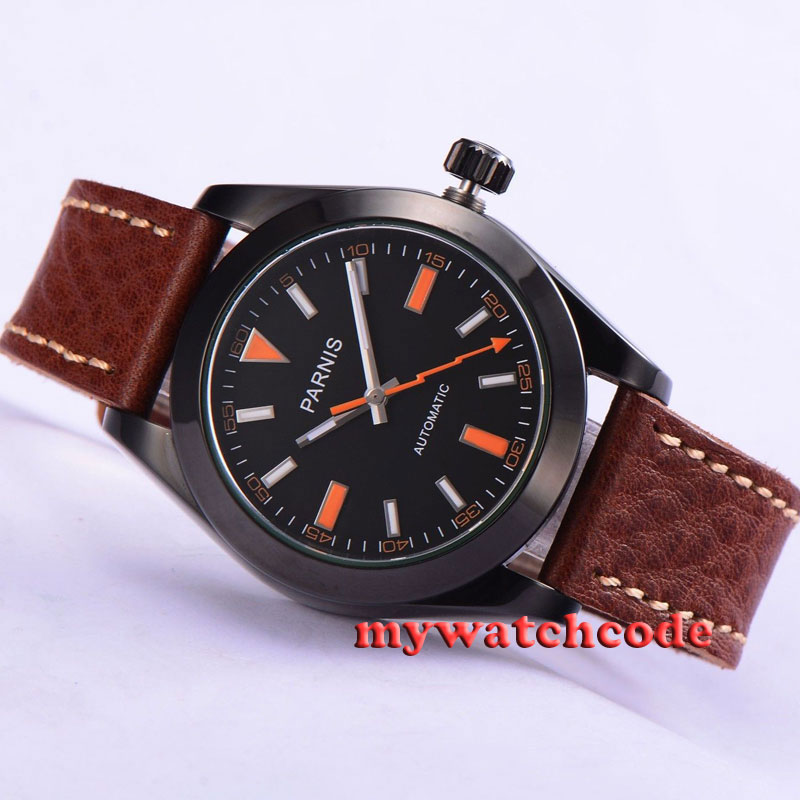 40mm Parnis black dial PVD case 21 jewels MIYOTA automatic Mens Watch P264 japan miyota 40mm pvd case parnis men s watch