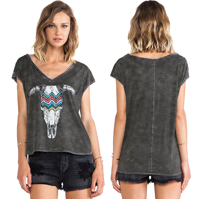 High quality bull printing to do the old process large v for Large v neck t shirts