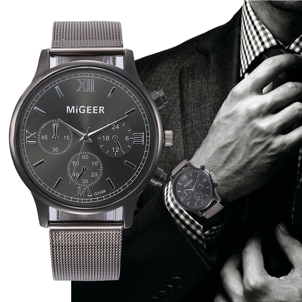 Fashion Roman Numerals Watches Men Luxury Stainless Steel Analog Quartz Watch Men's Business Style Black Wrist Watches Reloj #LH