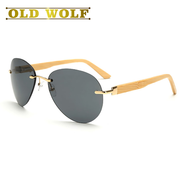 OLD WOLF 2017 New Bamboo Wood Frame Avatior Style Sunglasses Men ...