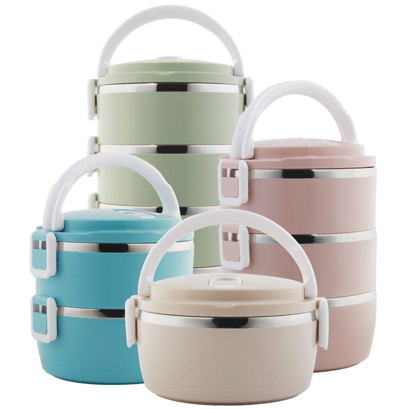 School Lunch Food Storage Container Bento Lunch Box Round Stainless Steel Thermos for Food with Containers for Kids Dropshipping