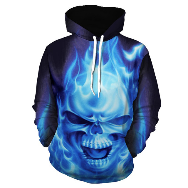 2019 Mens Hoodies 3D Sweatshirt Women Men Ghost Fire Skull Print Hip Hop Fashion Pullover Hoody Sweatshirts Autumn Winter Top
