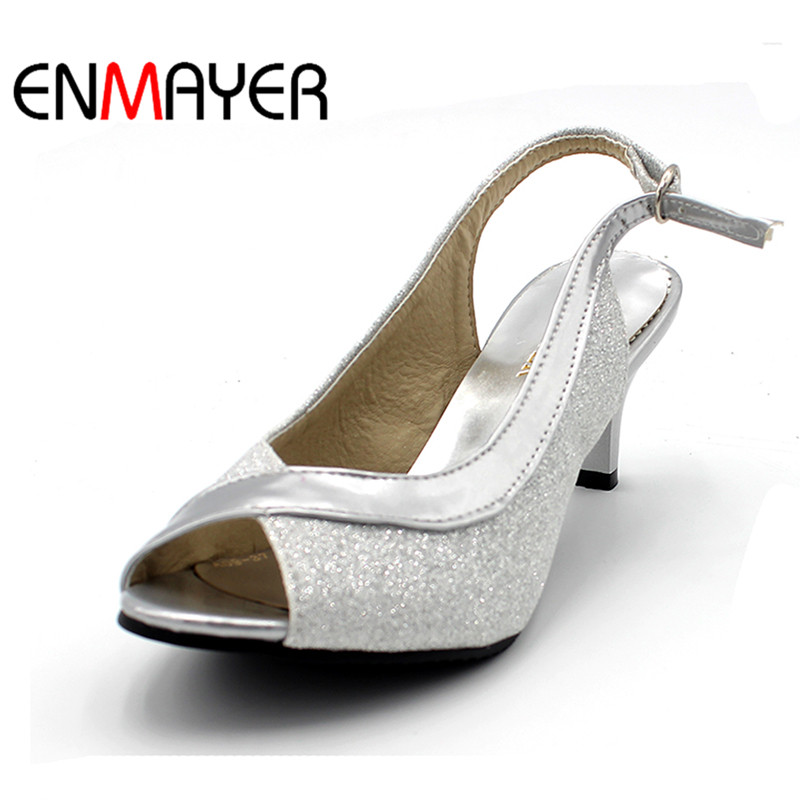 ENMAYER New Heel Summer Shoes Woman Open Toe Sandals Shoes Woman High-heeled Shoes Sandals High Heels Pumps Large Size 34-46 euro size 34 44 pu woman 15 and 17cm high heels platform sandals nightclub woman high heeled birthday party shoes for t station