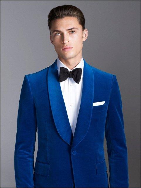 Azul marinho de Veludo Lapela Xale Formal de Casamento Do Noivo  Personalizado Ternos Para Homens Slim 7c83a7a7395
