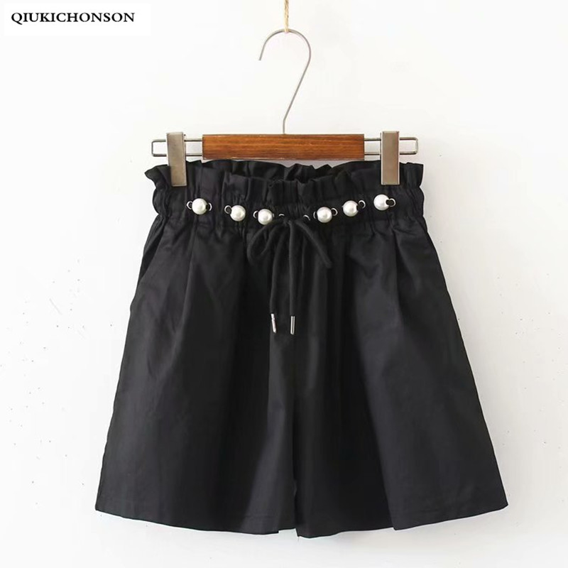 Korean Style Pearl Drawstring Frilly Elastic Band High Waisted Shorts Summer Women Wide Leg Casual Loose Shorts Pantaloncini