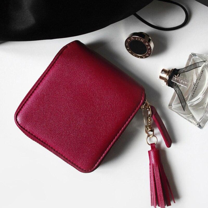 moda vinho tinto Interior : Passcard Pocket, coin Pocket, note Compartment, suporte de Cartão