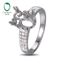 Caimao 8x10mm Oval Cut Semi Mount Setting Ring 14K White Gold Natural 0 55ct Diamond Engagement