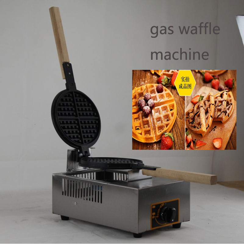 Restaurant Kitchen Equipment Commercial Gas Waffle Maker LPG Stainless Steel Waffle Machine Gas Belgian Waffle Maker one head rotary belgian waffle maker machine for commercial restaurant machinery wholesale
