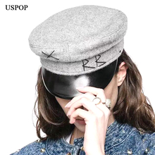 USPOP 2018 New women cap female patchwork vintage newsboy caps men flat top cotton visor caps Octagonal hat berets