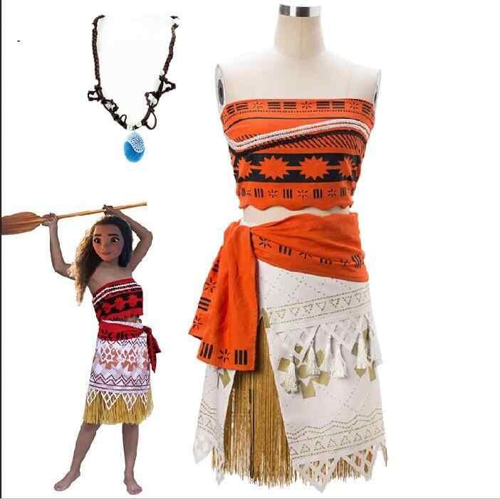 Criança adulto princesa moana traje crianças fantasia vestido cosplay festa menina traje com colar livre