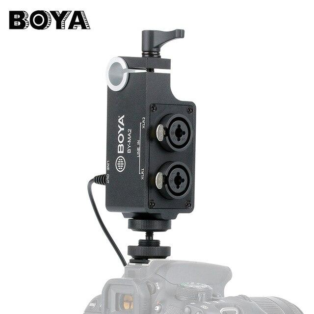 Boya BY-MA2 double canal enregistrement Audio mélangeur XLR Jack 6.5mm à 3.5mm système de Microphone sans fil pour appareil photo reflex numérique Canon Nikon Sony