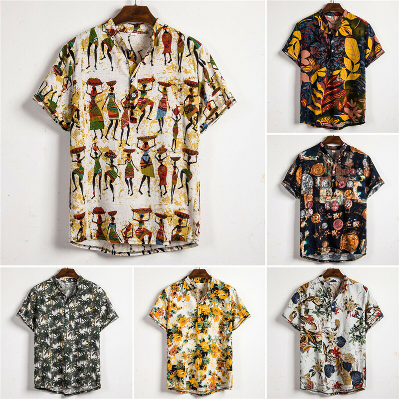 Men Ethnic Style Print Linen Shirts Summer Short Sleeve Slim Fit Shirts Male Men Streetwear Floral Loose Casual Shirt Blouse Top