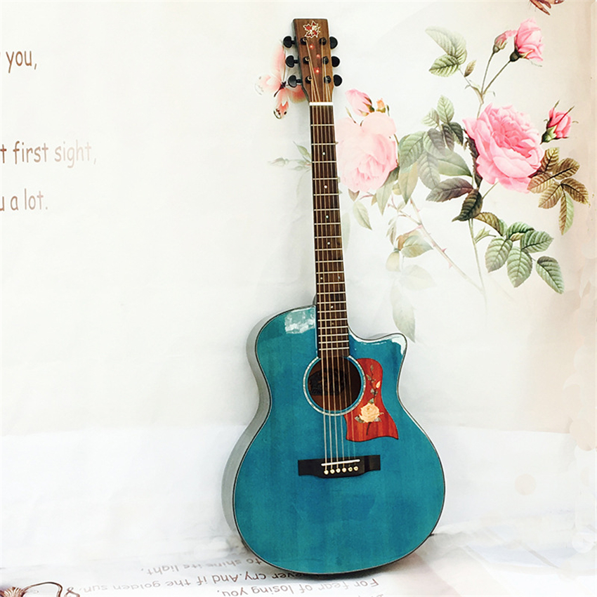 New Design 41'' Guitar Face Single Sheet Guitar Kit Spruce Maple solid Blue Acoustic Guitar 6 Strings China Musical Instruments single sided blue ccs foam pad by presta